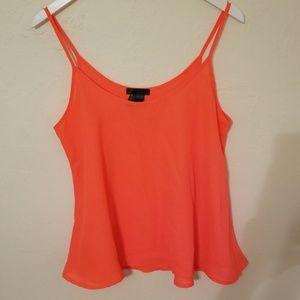 Tops - Neon coral orange flowy cami tank top blouse